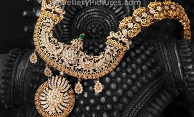 Traditional diamond haram jewellery for weddings