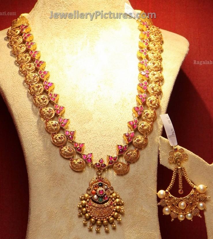 Gold Antique Long Chain Design - Jewellery Designs