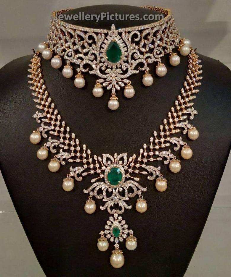 Bridal Diamond Choker And Necklace Set