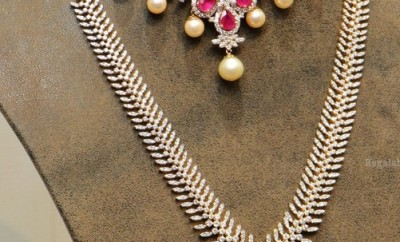 diamond long chain necklace set