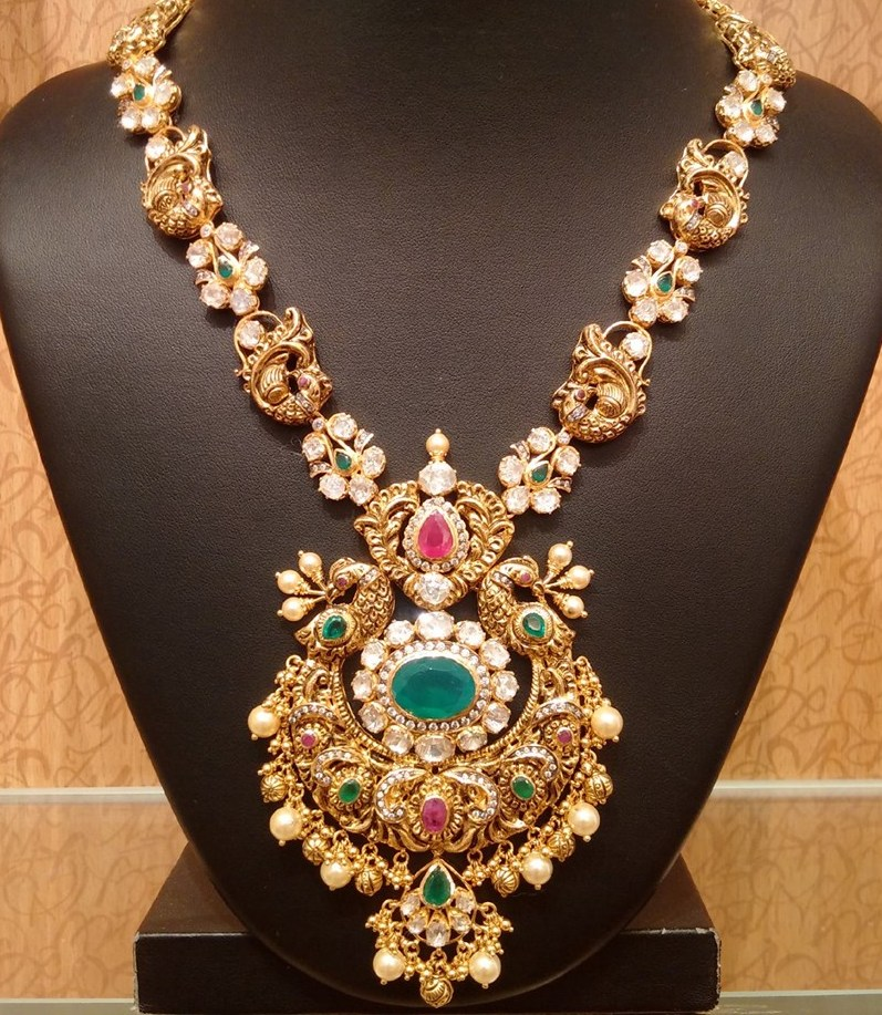 Peacock Long Chain with Pachi setting - Jewellery Designs