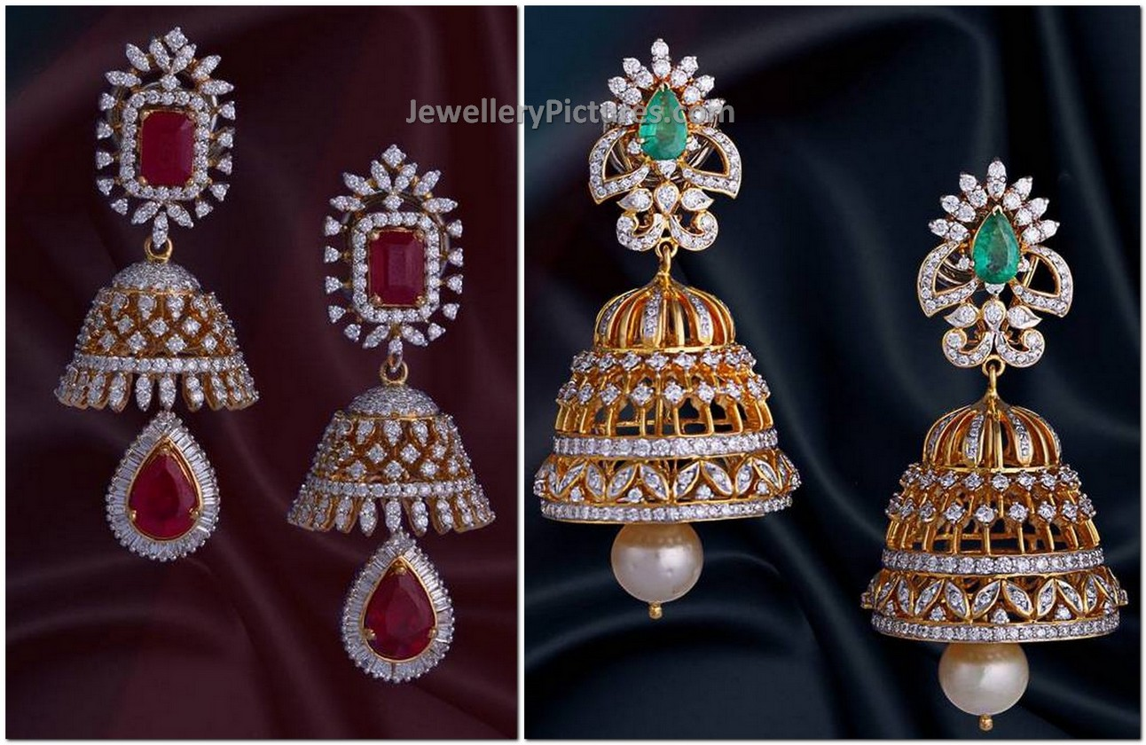 grams and rings grand ear pin diamond jhumka designs jewellery jhumkas