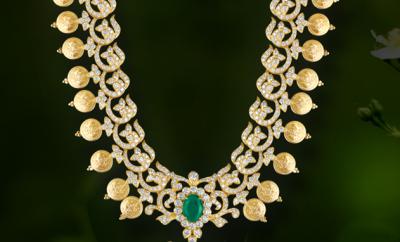 diamond long kasu necklace