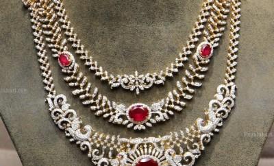three layer diamond necklace