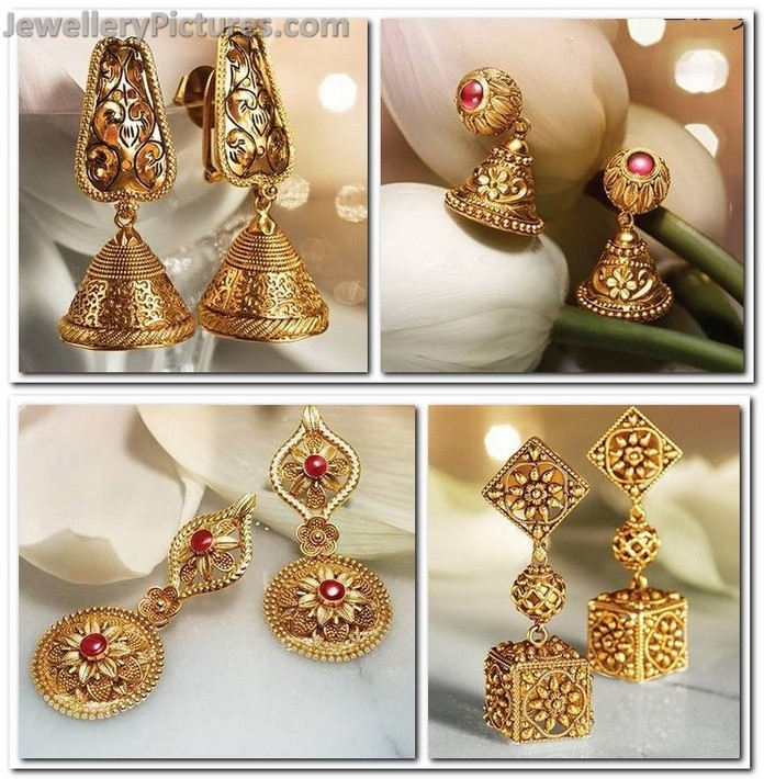 Antique Earrings from Tanishq Divyam Collection - Jewellery Designs
