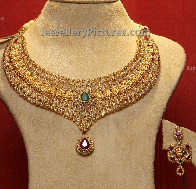 diamond set dp green uncut jewels hyderabad golden red from buy necklace antique