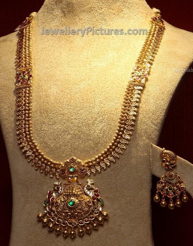 Gold Antique Parrot Long Chain - Jewellery Designs