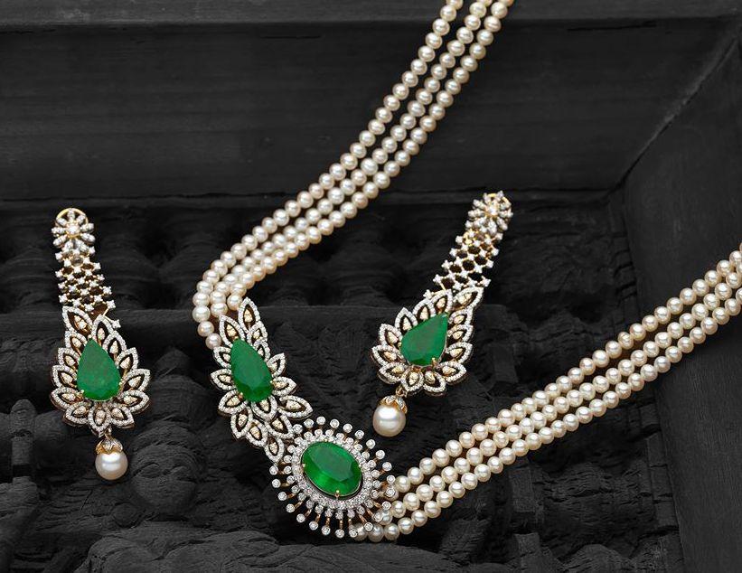 Pearl set with diamonds