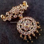 Round diamond  floral pendant with dangling black beads