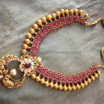 Ruby gold beads necklace