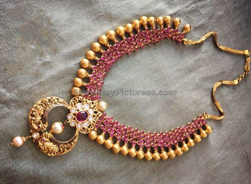 Ruby gold beads necklace - Jewellery Designs