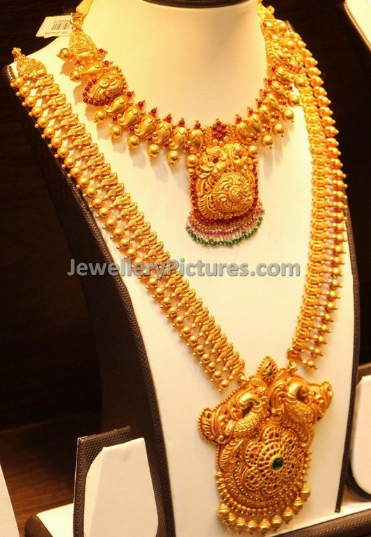 Peacock Antique Long Necklace Jewellery Designs