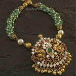 Antique Pendant Emerald Beads Mala