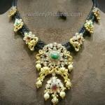 Dori Silk Black Rope Gold Necklace