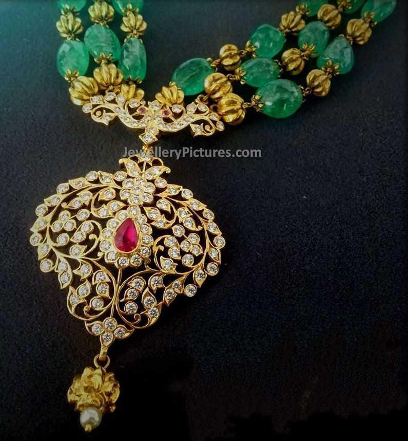 Beads gold chain diamond pendant jewellery designs beads gold chain diamond pendant 1 aloadofball Choice Image