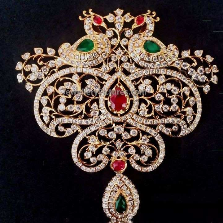 Big size traditional peacock diamond pendant jewellery designs big size diamond pendant traditional indian jewellery 1 aloadofball Choice Image