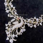 Designer diamond peacock necklace