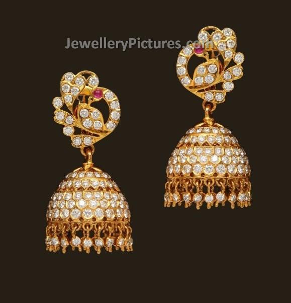 diamond buttalu designs jewellery designs diamond jhumka in peacock design jewellery designs