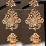 Diamond Jhumka in Peacock Design