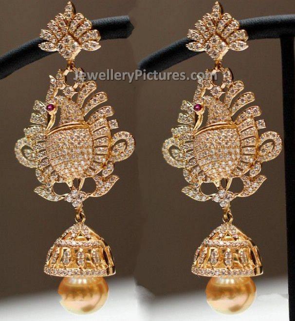 diamond jhumka in peacock design jewellery designs