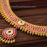 Ruby Necklace With Diamonds By Vasundhara Jewellers