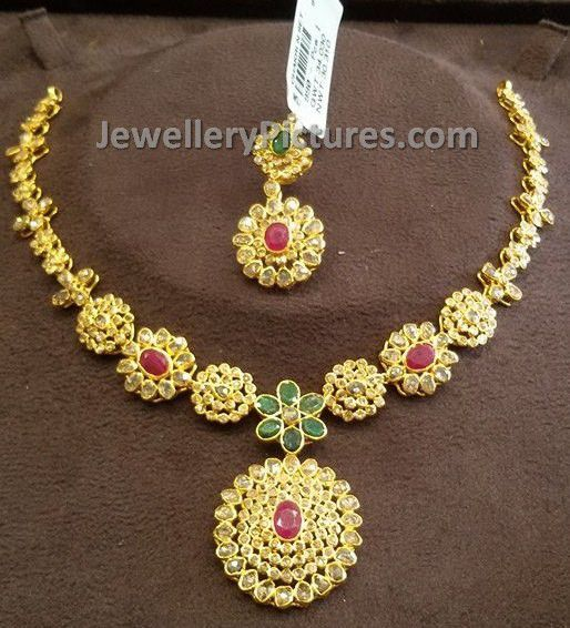 and pin uncut designs indian nakshi necklace diamond jewellery