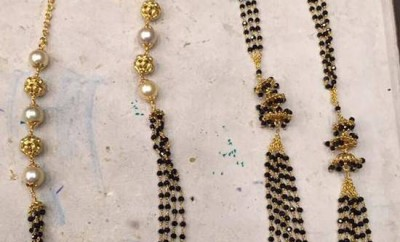 multi strand black beads