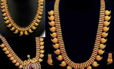 plain gold mango malain short length and long necklace designs