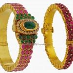 Gold Kada Designs Studded with Rubies