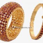 Latest Gold Kada Designs with Rubies