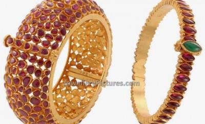 rubies adorned latest gold kada designs
