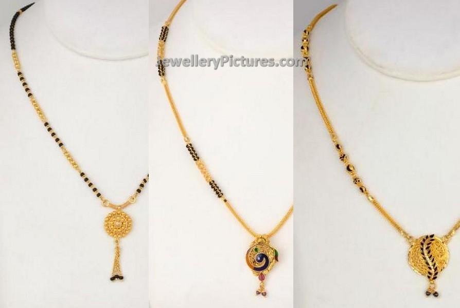 Short Length Mangalsutra Chains - Jewellery Designs