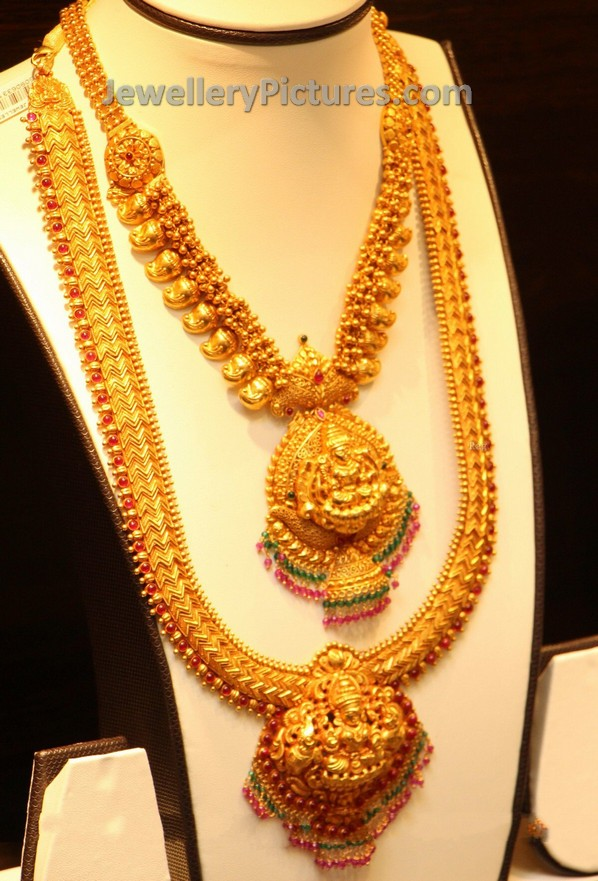 Pearl Jewellery Necklace >> Lakshmi Haram and Mango Mini Haram - Jewellery Designs