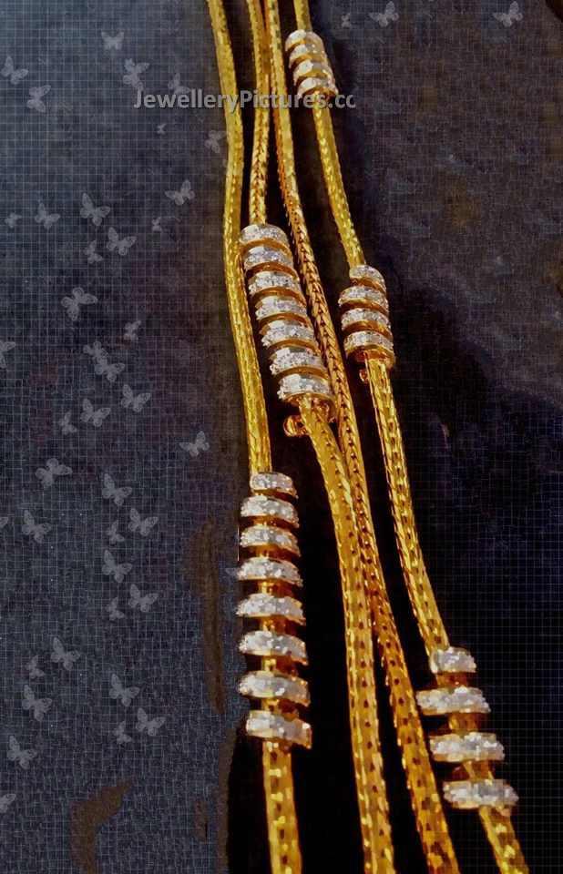 Spiral diamond thali chains - Jewellery Designs