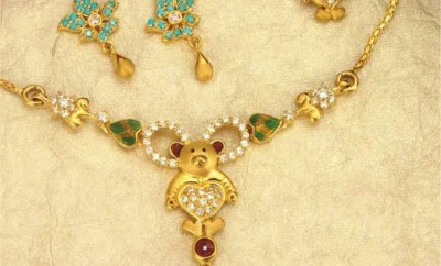 teddy bear gold necklace designs for babies