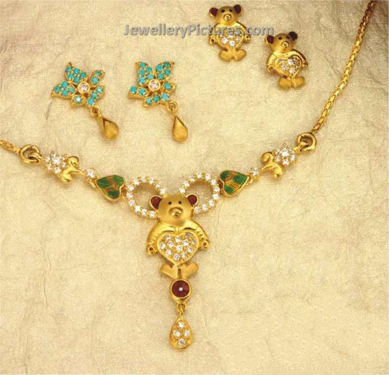 jewels girl south thangamayil gold yellow india necklace baby kids
