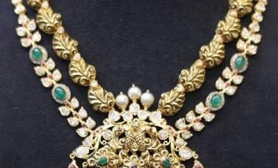 uncut diamond antique necklace