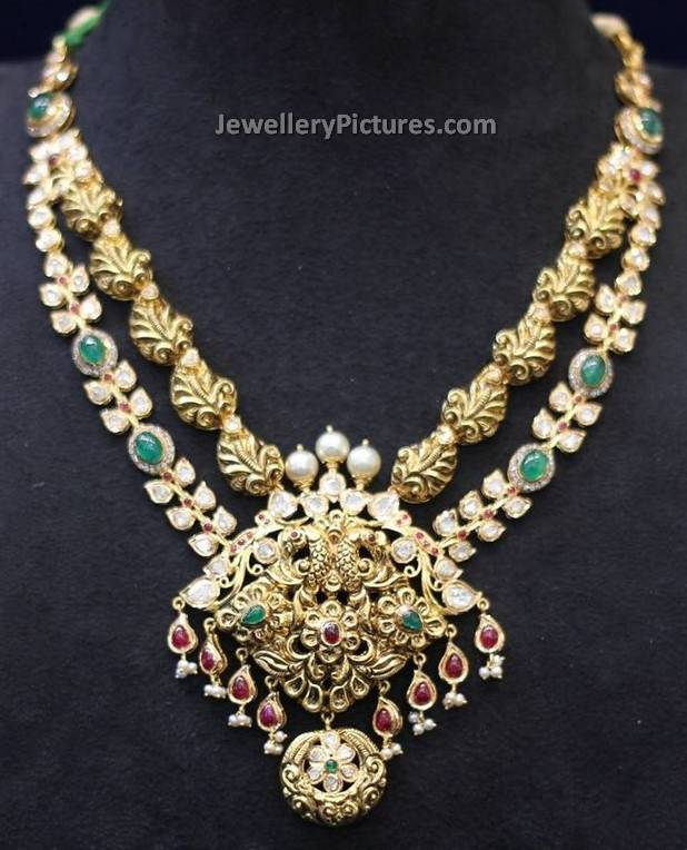 Uncut Diamond Antique Necklace Jewellery Designs
