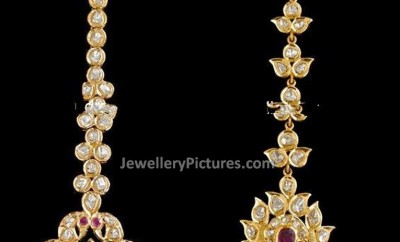 Uncut diamond maang tikka bindi designs