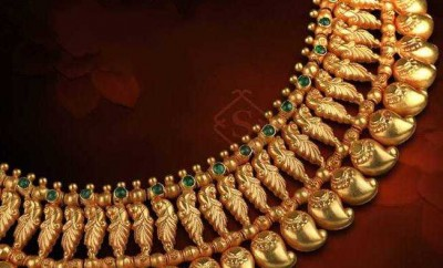 traditional gold necklace designs catalogue mango necklace studded with emeralds