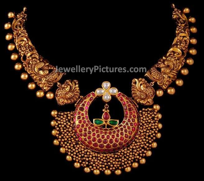 Antique gold necklace designs jewellery designs intricate crafted antique gold necklace designs aloadofball Choice Image