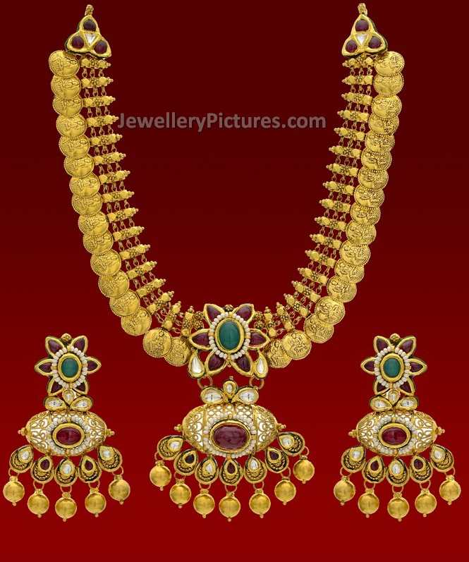 Antique Gold Pendant Designs for Haram - Jewellery Designs