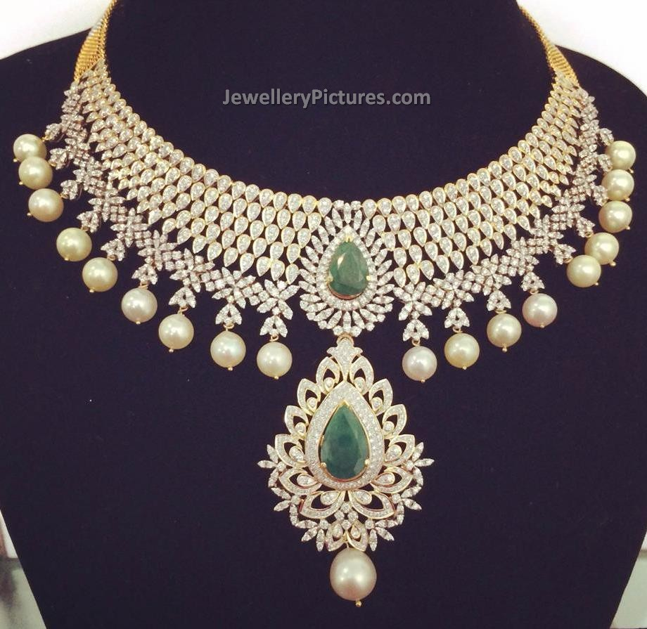 diamond jewelry indian designs jewellery latest necklace beautiful