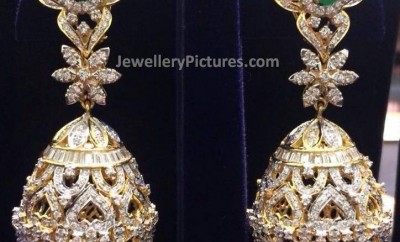 diamond jhumka earrings designs with emerald top