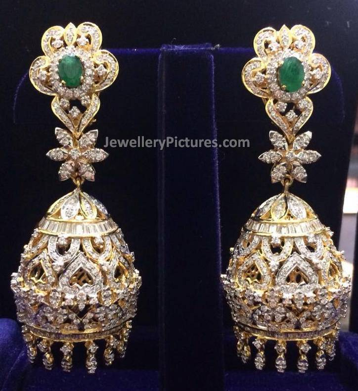 jhumka gold earrings look diamond real