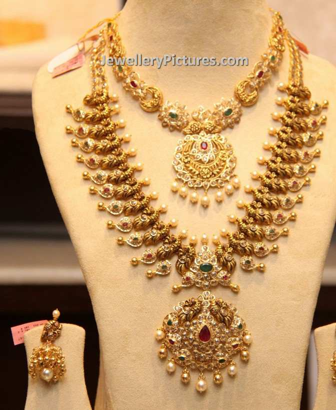 gold jewellery design necklace and haram with uncuts