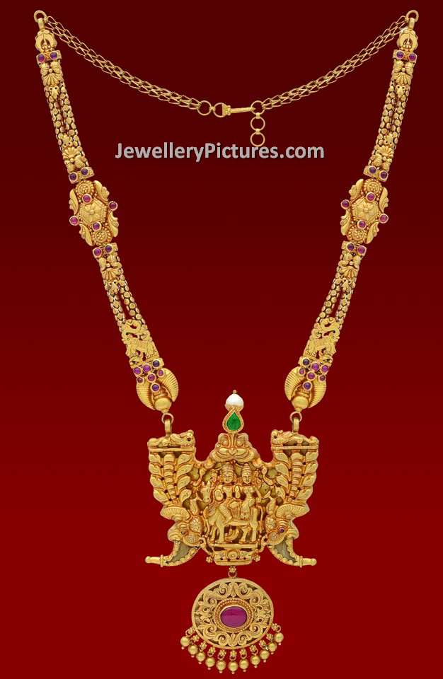 Gold Long Haram Designs with Weight - Jewellery Designs