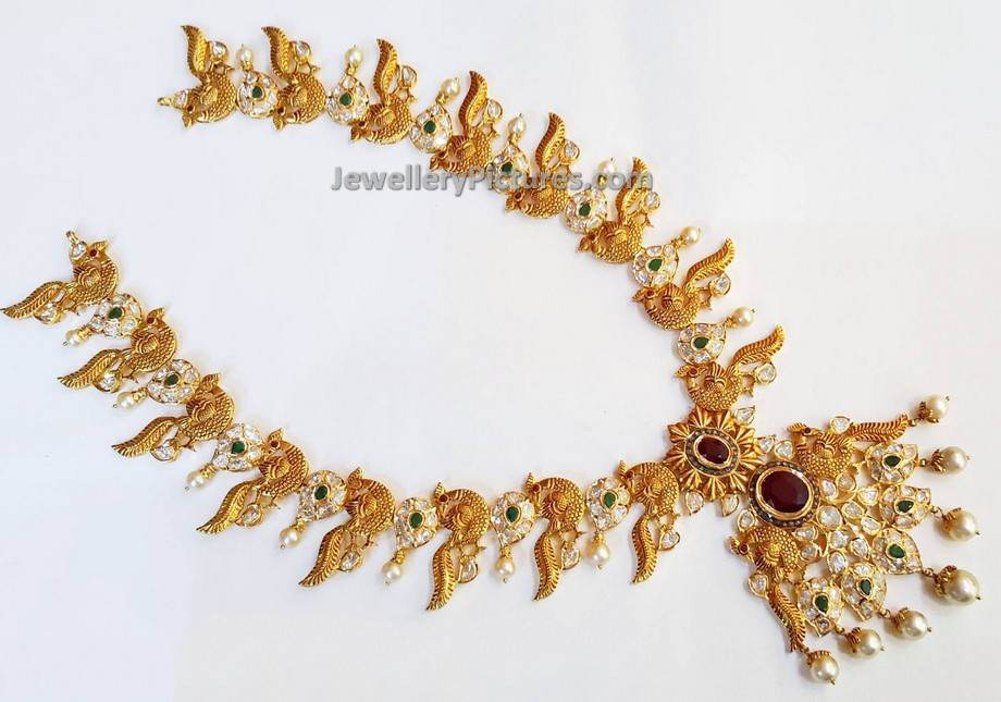 Gold Long Necklace Designs Catalogue - Jewellery Designs
