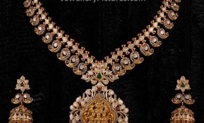 gold mango haram designs with jhumkas