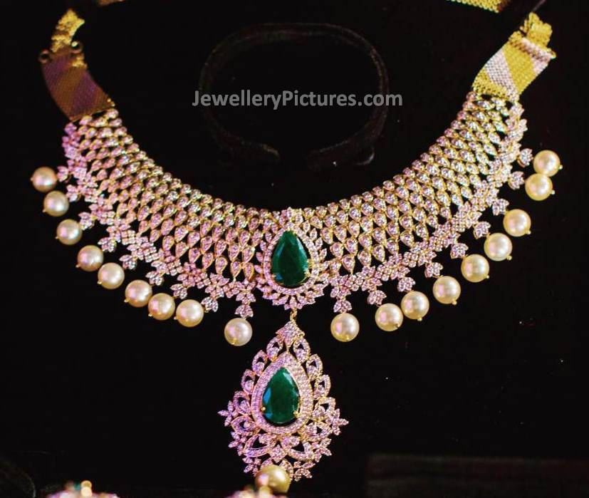 Indian diamond jewelry jewellery designs indian diamond jewelry necklace with big emeralds aloadofball Choice Image